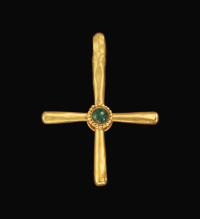 A BYZANTINE GOLD AND EMERALD C