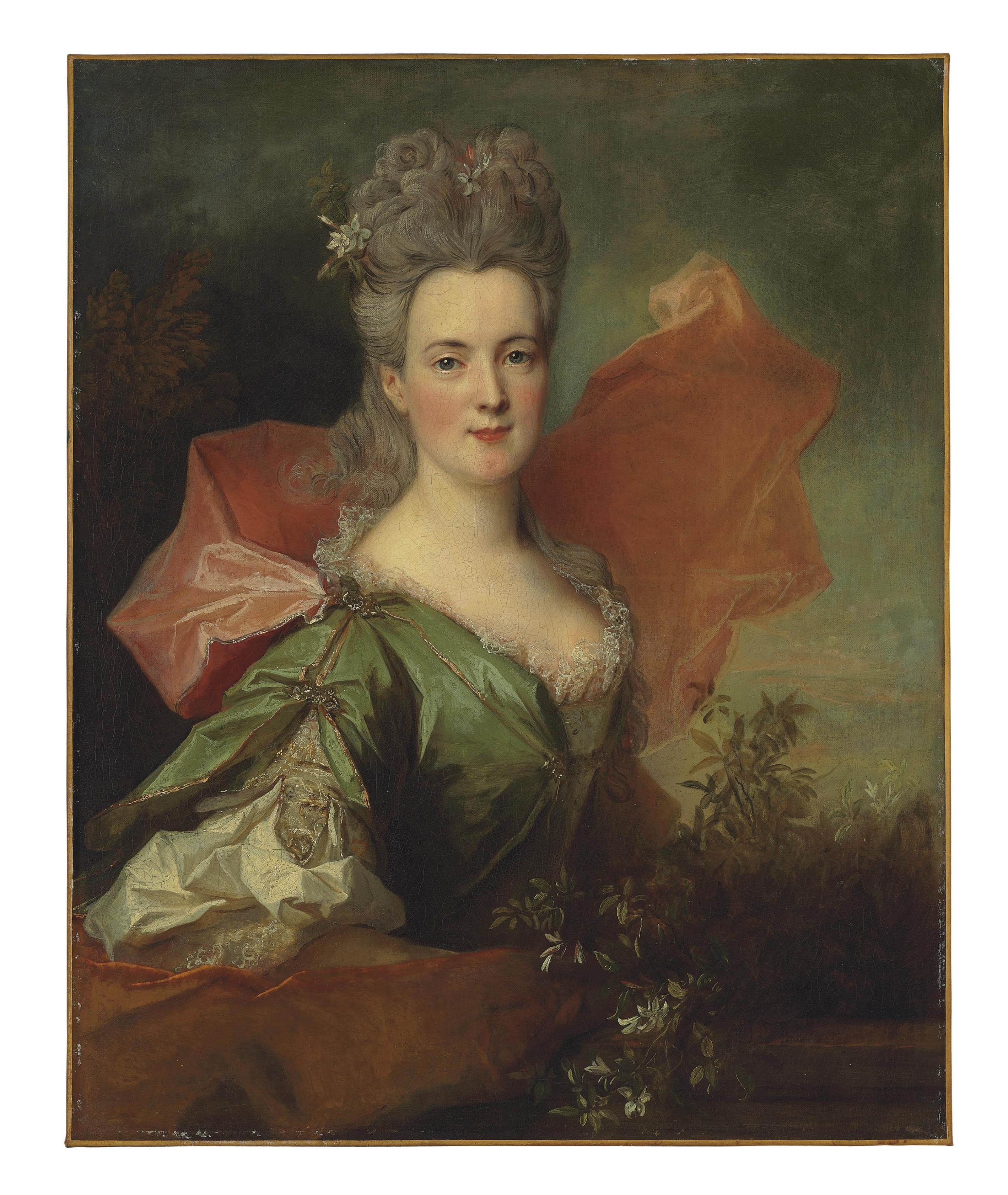 Portrait of a lady in a green silk dress, half-length