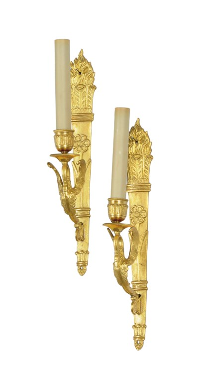 A PAIR OF FRENCH ORMOLU SINGLE