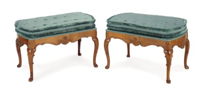 A PAIR OF FRENCH WALNUT STOOLS