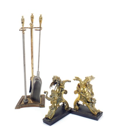 A COLLECTION OF BRASS FIREPLAC