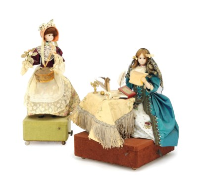 TWO FRENCH BISQUE AUTOMATON GR