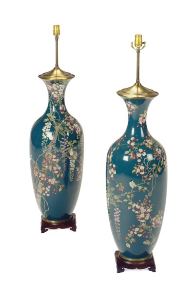 A PAIR OF ENAMELLED METAL BALU