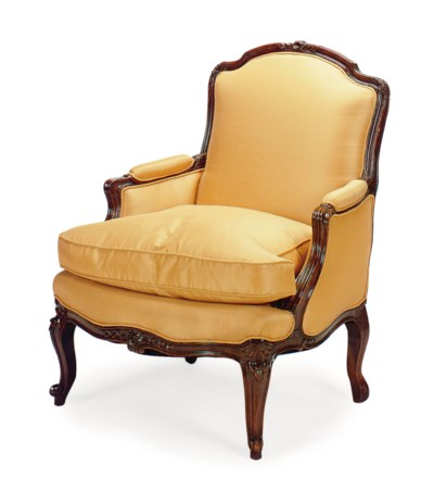 A FRENCH PEACH SILK-UPHOLSTERE
