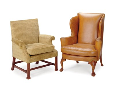 A FRUITWOOD AND LEATHER UPHOLS