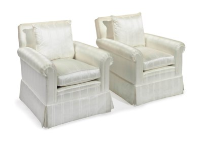 A PAIR OF WHITE SILK-UPHOLSTER