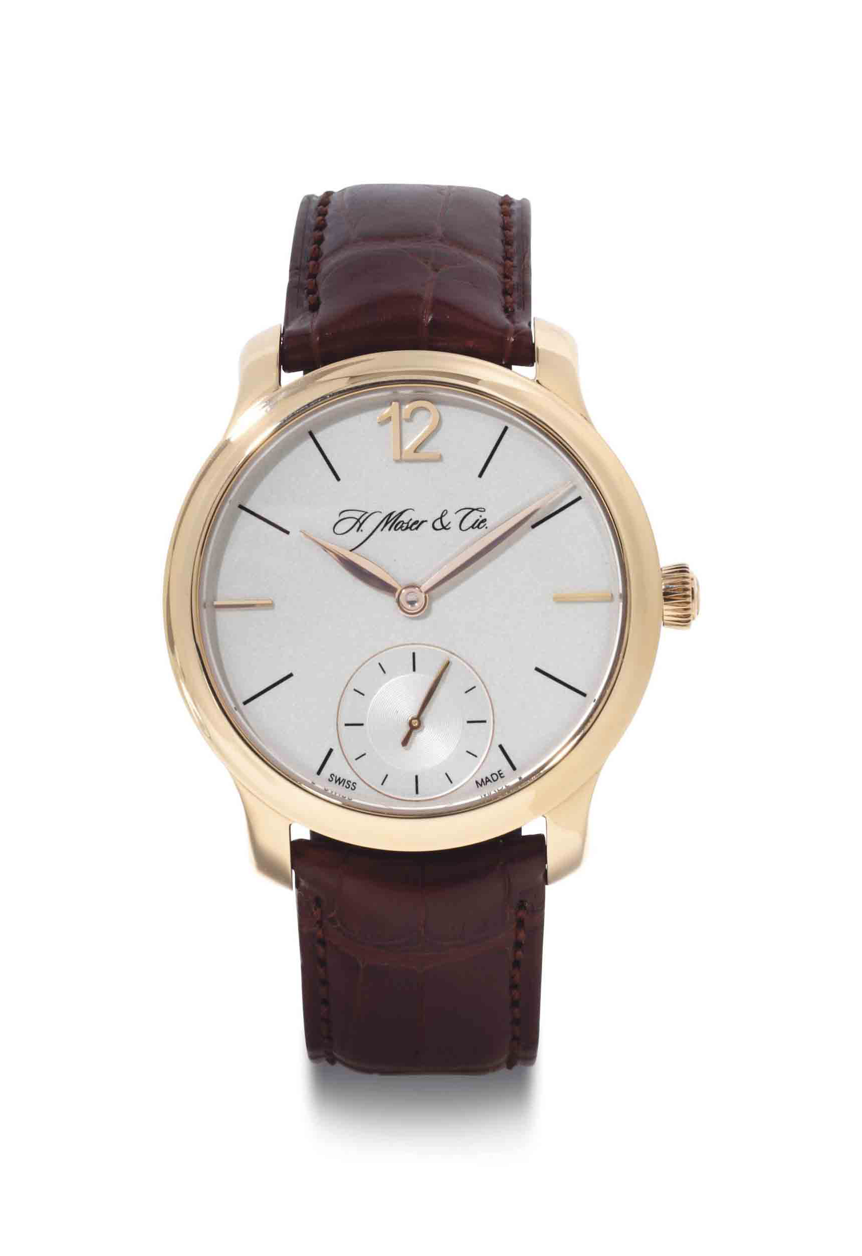 Moser.  An 18k Pink Gold Wristwatch With Power Reserve