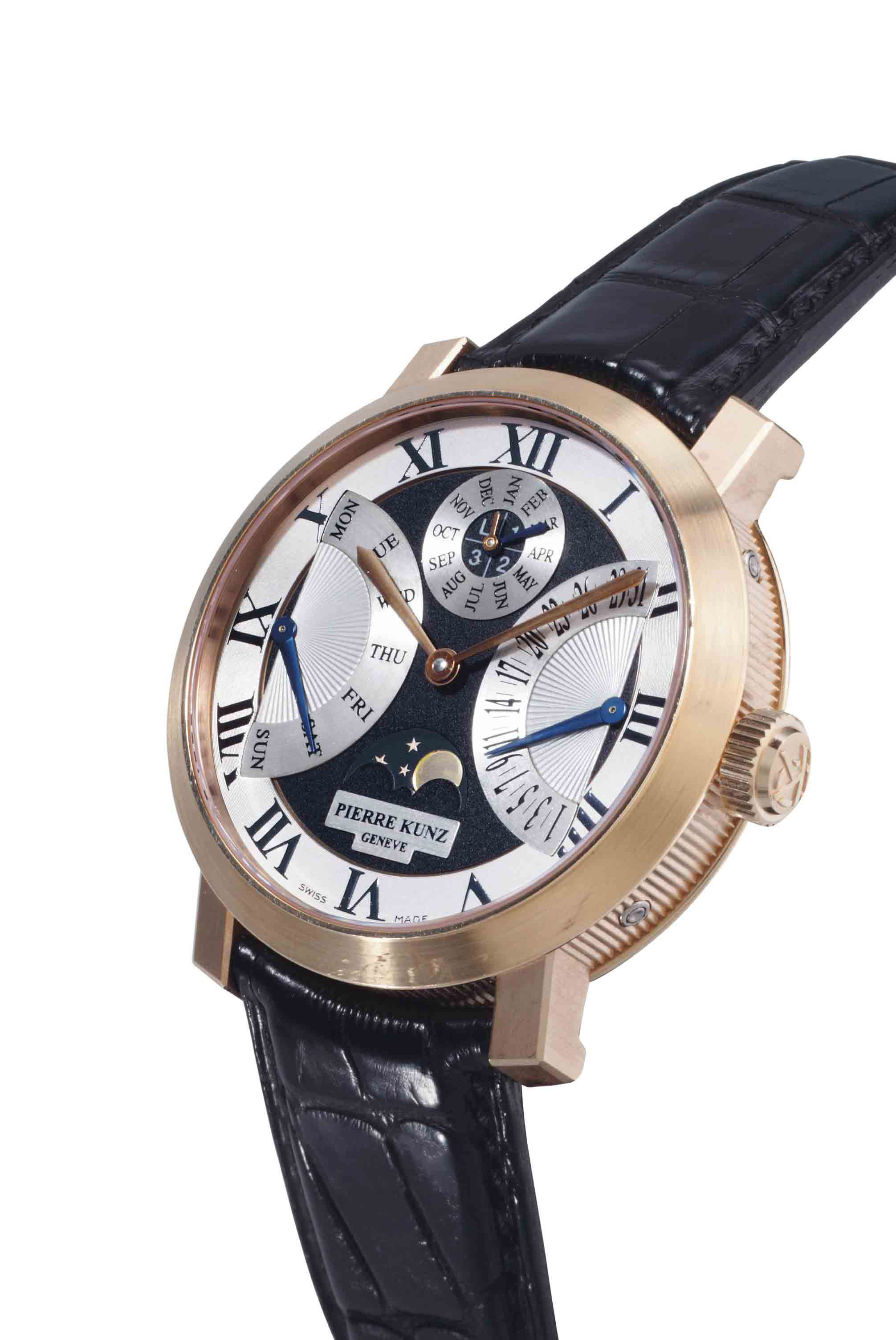 Pierre Kunz. A Fine 18k Pink Gold Automatic Perpetual Calendar Wristwatch With Retrograde Day And Date And Moon Phases