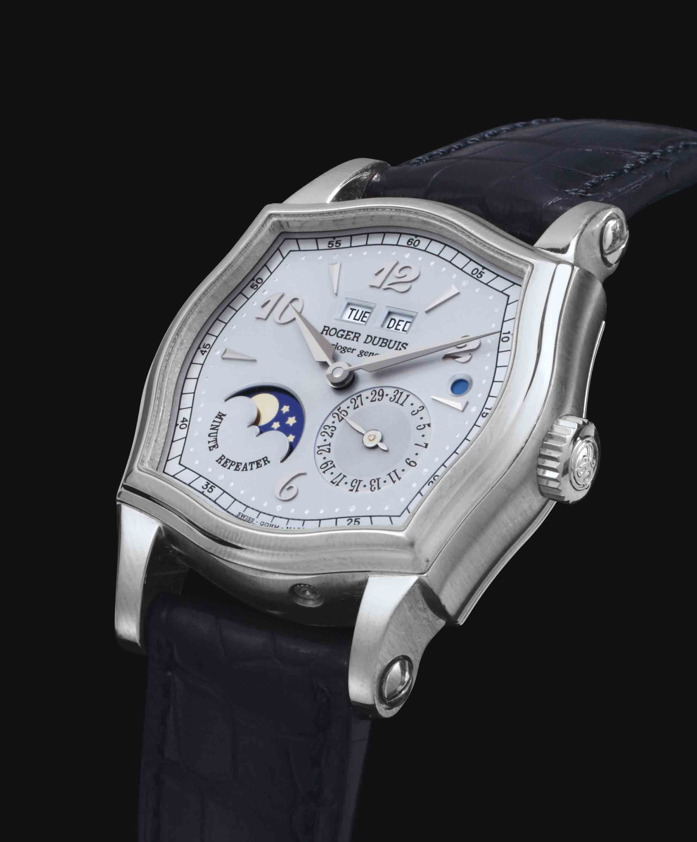 Roger Dubuis.  A Fine And Rare 18k White Gold Limited Edition Minute Repeating Perpetual Calendar Wristwatch With Original Certificate Of Origin, Additional Hard Back And Presentation Box