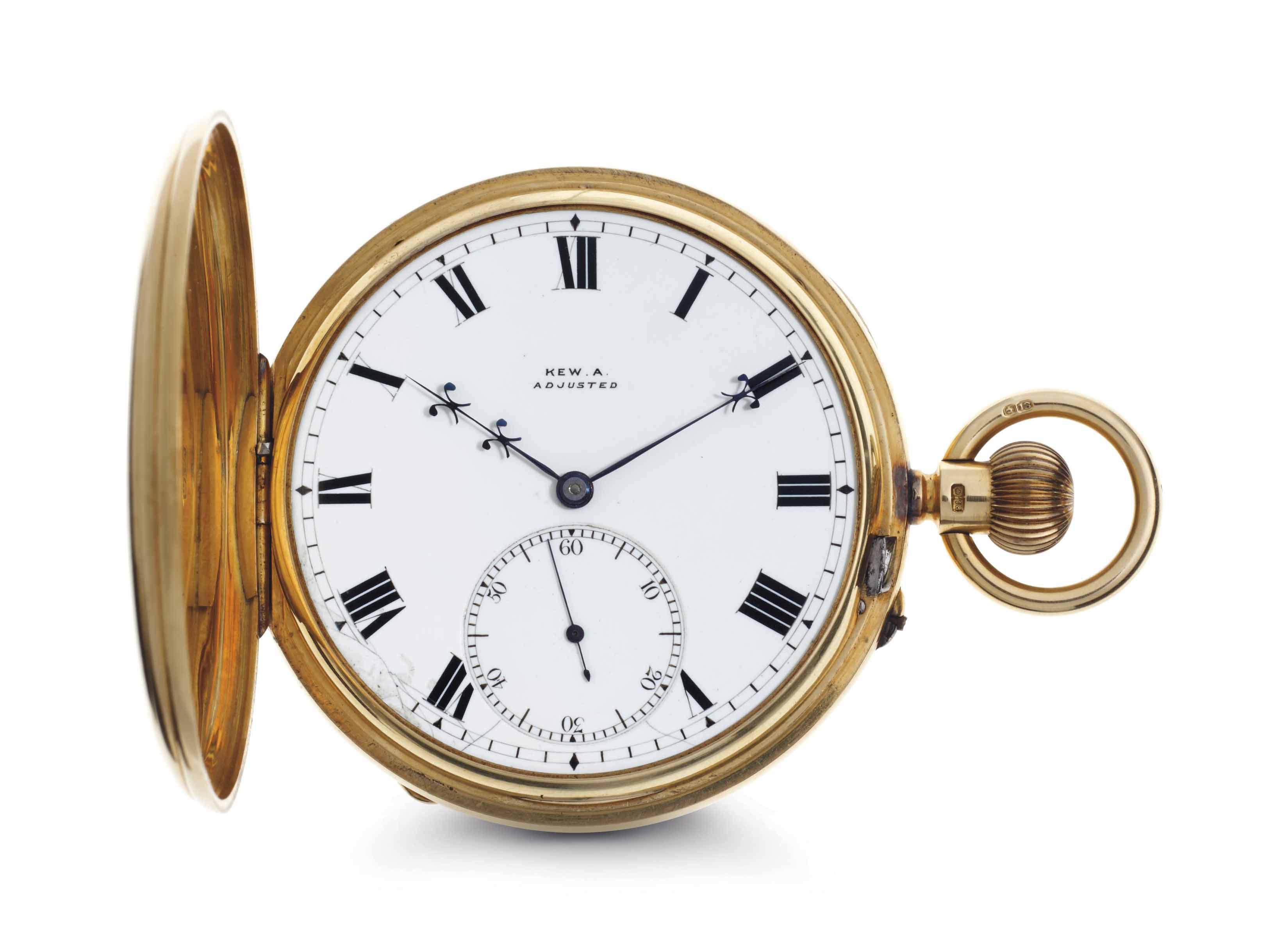 Thomas Russell & Son. A Rare 18 Gold Half-Hunter Case Karrusel Keyless Lever Pocket Watch