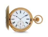 Swiss. A Fine 18k Gold, Diamond and Enamel Two Train Hunter Case Minute Repeating Grand And Petite Sonnerie Keyless Lever Clock Watch For The Indian Market