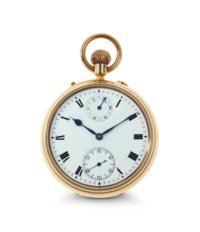 S. Smith & Sons. An Extremely Fine And Rare 18k Gold Openface Keyless Lever Pocket Watch With One Minute Tourbillon, Up and Down Indicator and Class A Kew Certificate