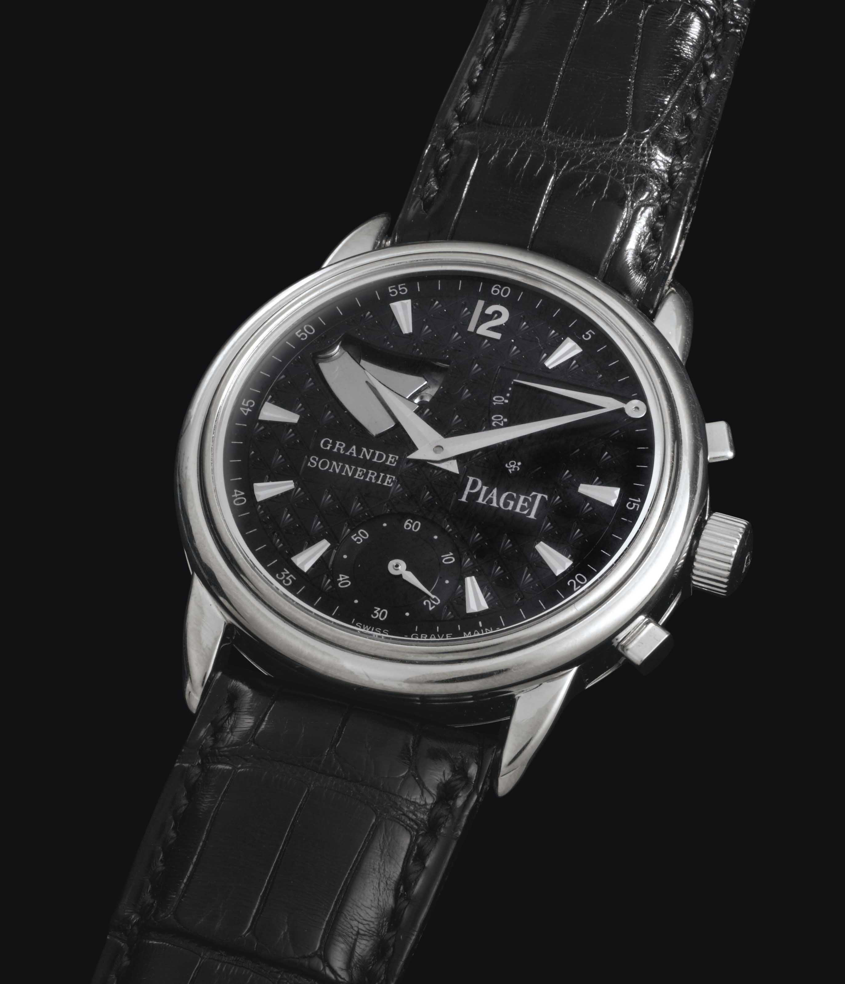 Piaget.  A Very Rare And Fine Limited Series 18k White Gold Minute Repeating Grande And Petite Sonnerie Striking Two-Train Wristwatch With Power Reserve Indication
