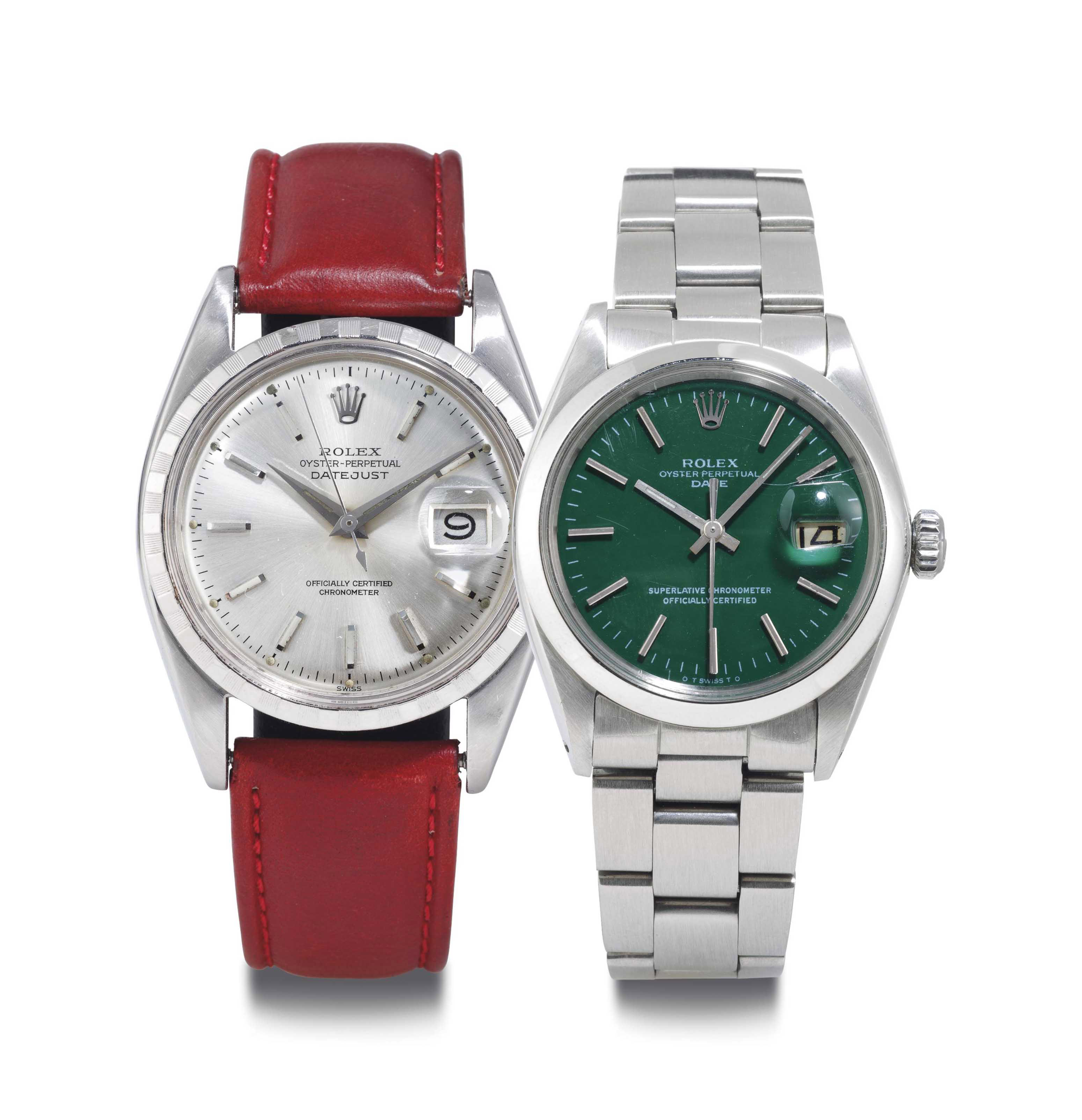 Rolex. A Pair Of Stainless Steel Automatic Wristwatches With Date And Center Seconds