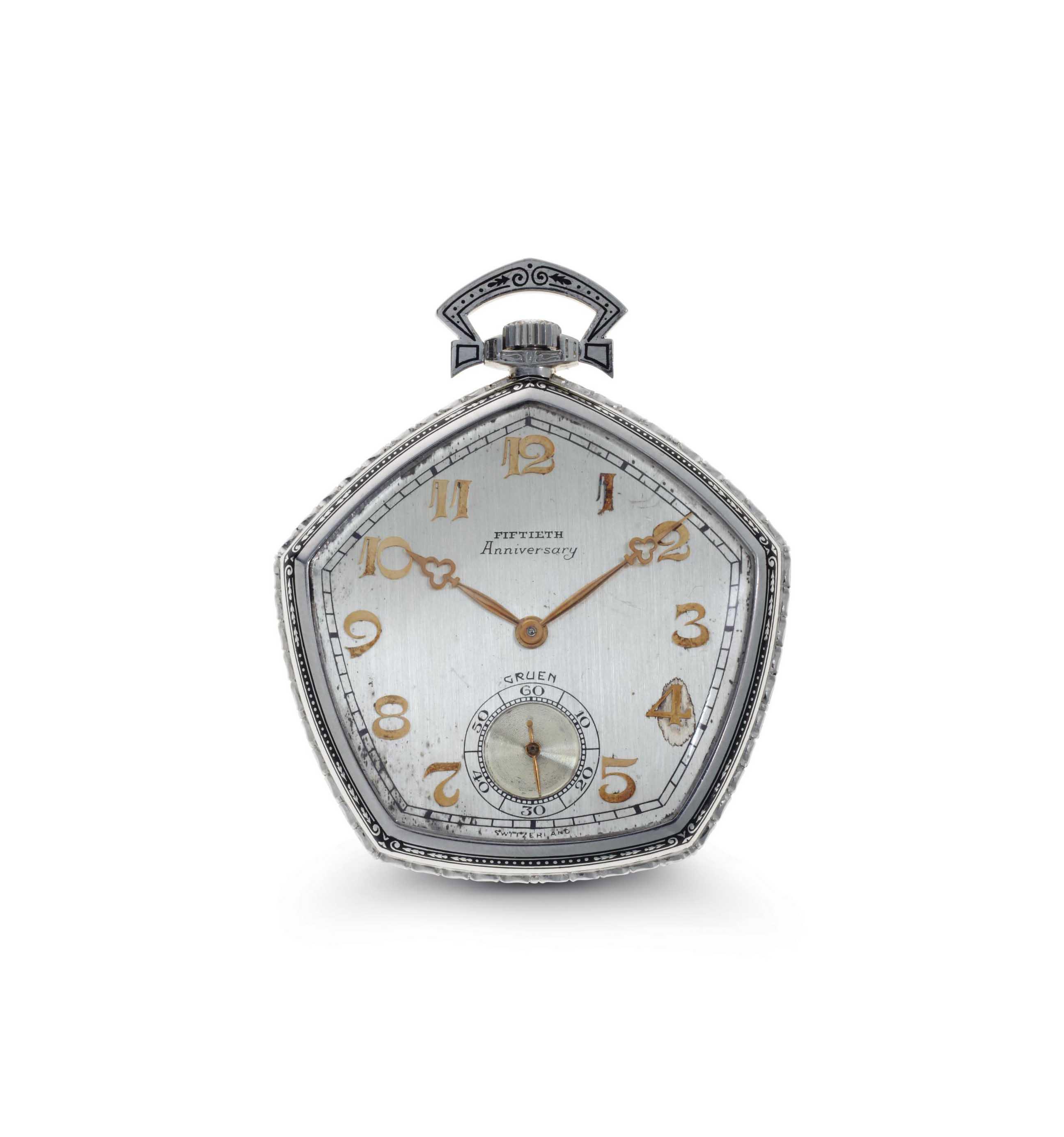 Gruen. A Fine Platinum Pentagonal Openface Keyless Anniversary Pocket Watch