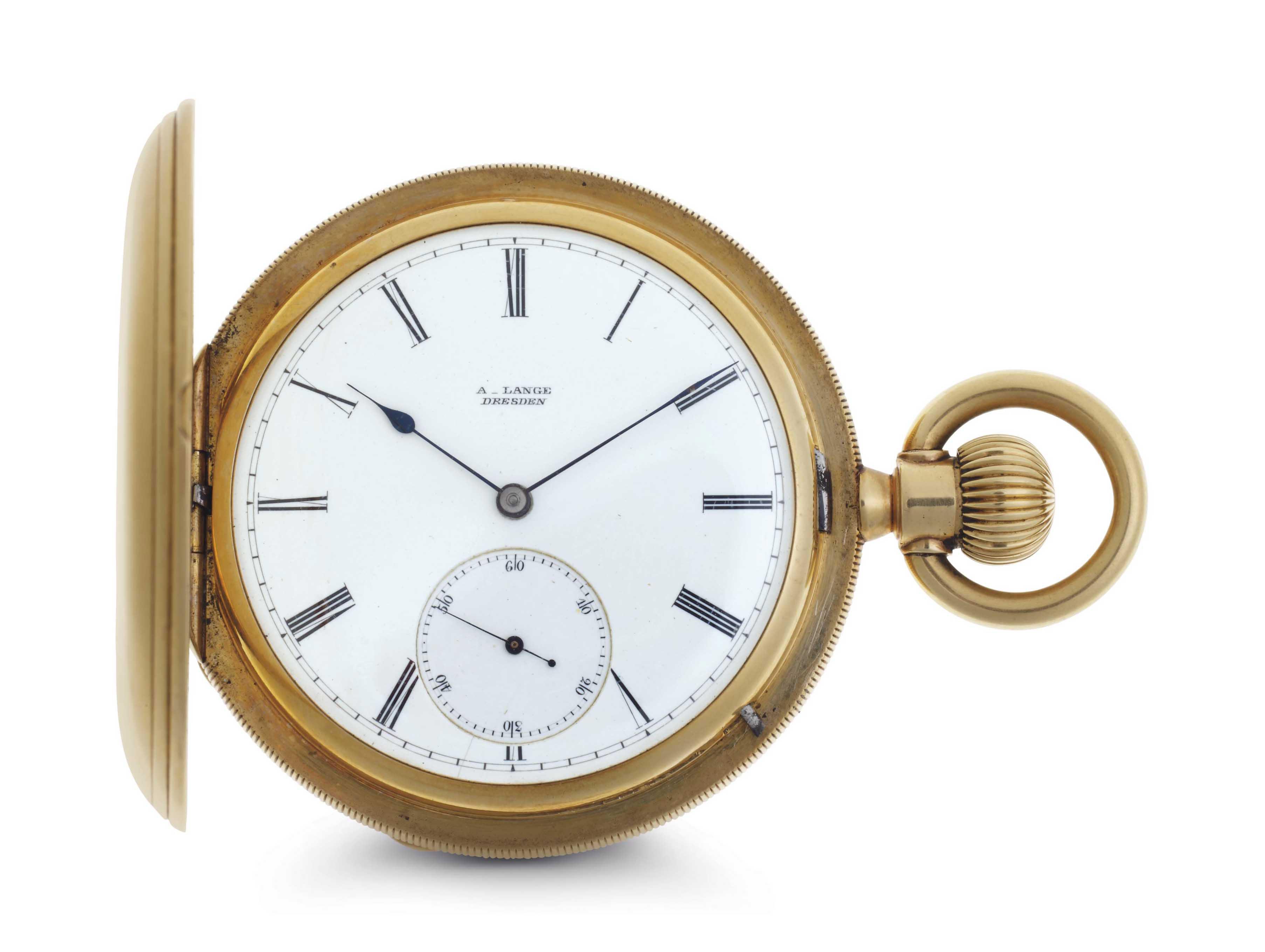 A. Lange. An 18k Gold Hunter Case Keyless Lever Pocket Watch