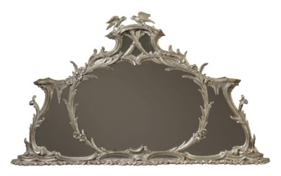 AN ENGLISH SILVERED OVERMANTEL