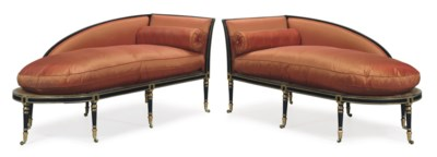 A PAIR OF REGENCY BLACK-PAINTE
