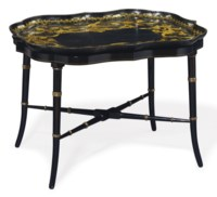 A VICTORIAN GILT AND BLACK PAPIER-MACHE TRAY ON LATER STAND