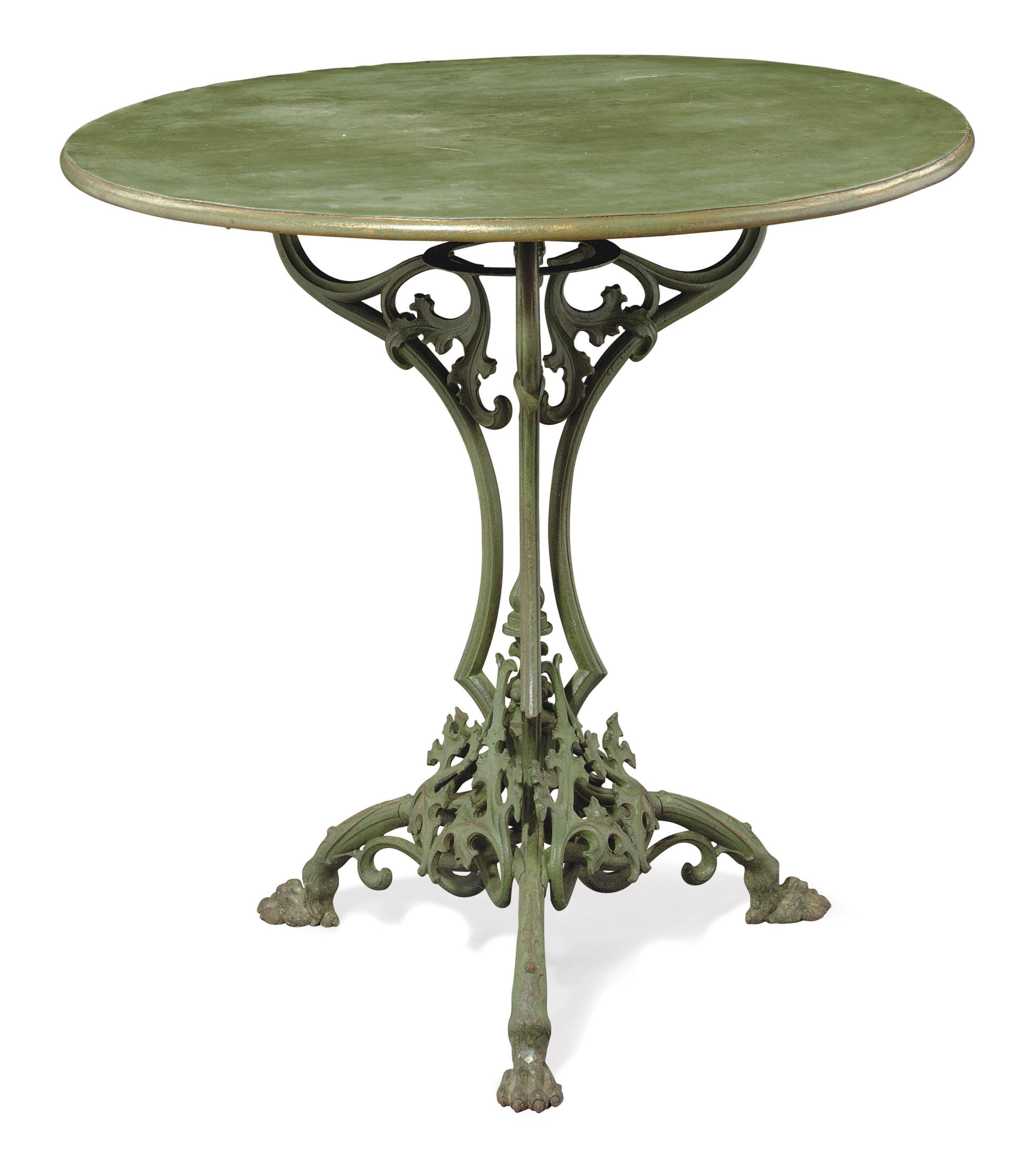 A CAST-IRON AND GREEN PAINTED
