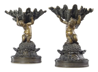 A PAIR OF FRENCH DUAL-PATINATE