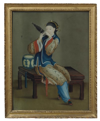 A CHINESE REVERSE-PAINTING-ON-