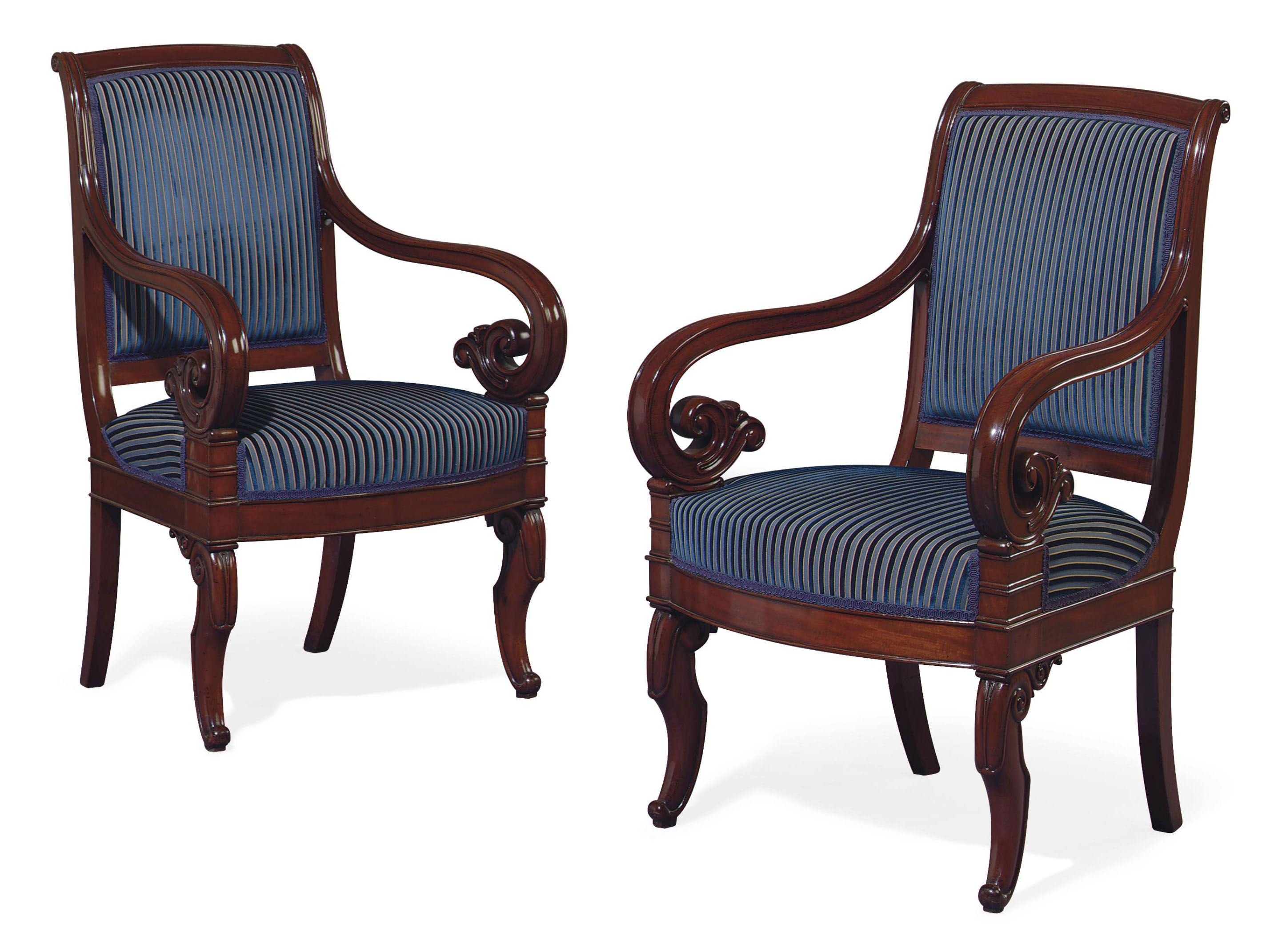 A PAIR OF LOUIS-PHILIPPE MAHOGANY FAUTEUILS