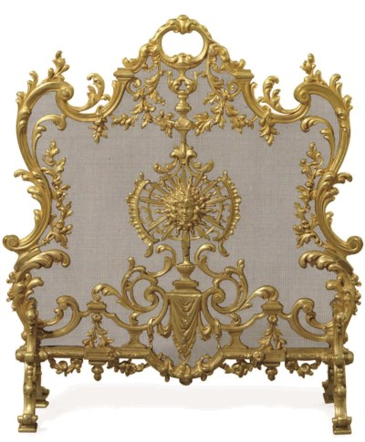 A FRENCH ORMOLU AND WIRE MESH