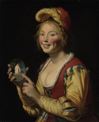 A smiling girl, a courtesan, holding an obscene image