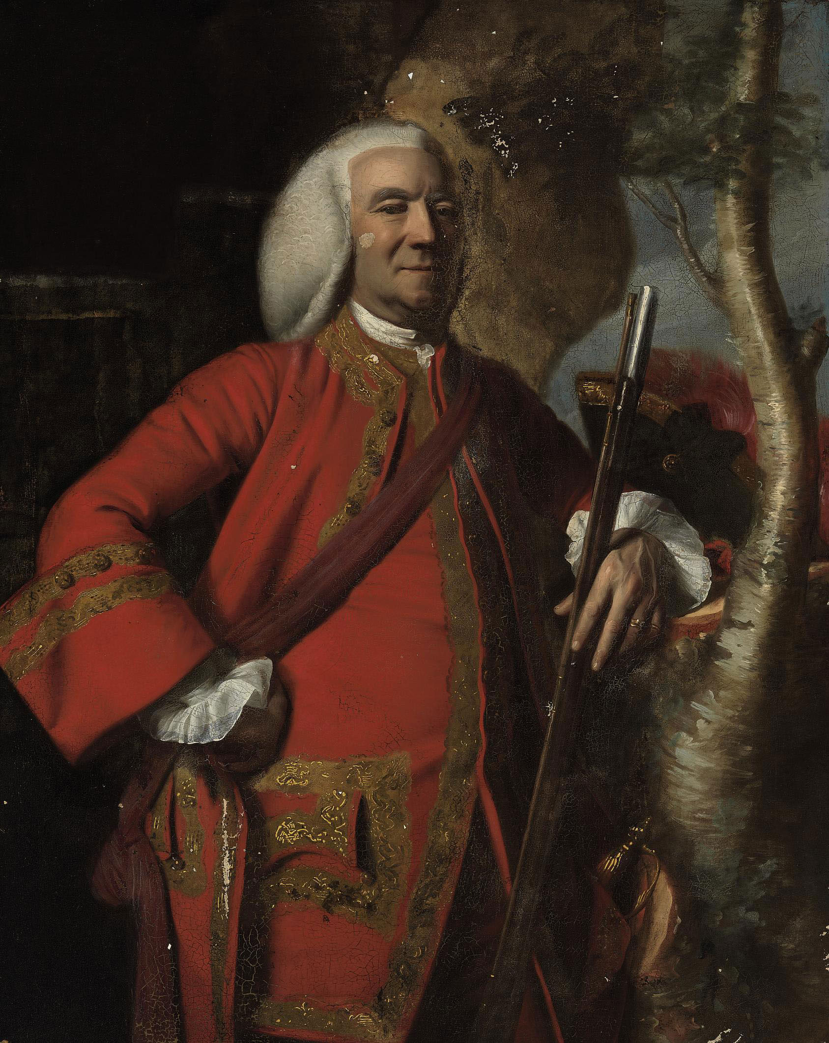 Portrait of Colonel Jacob Fowle (1704-78), three-quarter length, with a musket