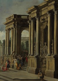 An architectural capriccio with elegant figures in a portico