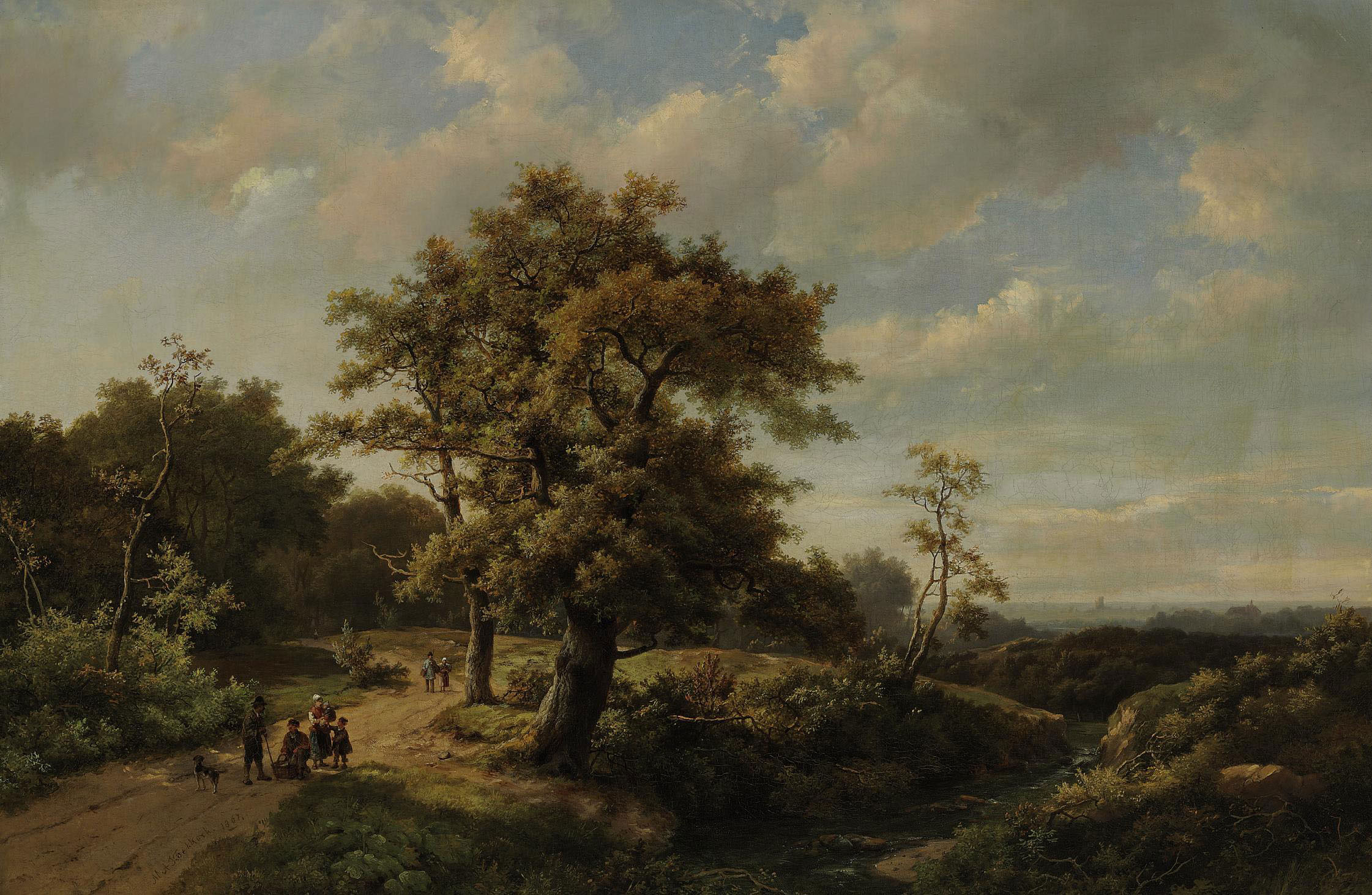 Figures resting by a stream in a wooded landscape