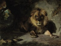 A lion in his den
