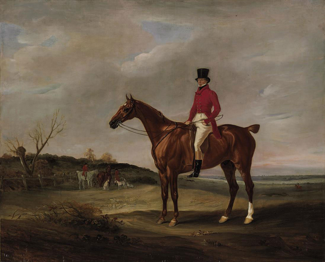 Colonel Standen on his chestnut hunter with the Quorn huntsmen and hounds at a covert
