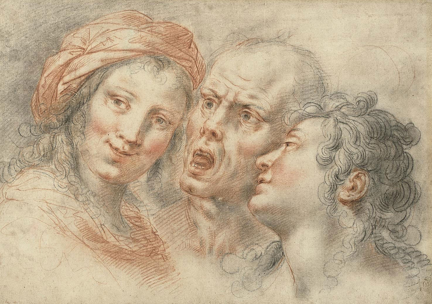 Three studies of heads: a young woman, a shouting man and a youth
