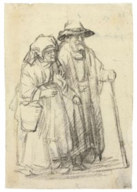 A strolling couple: an old man and a woman carrying a market pail