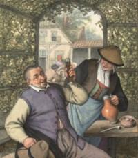 A peasant couple carousing in a garden