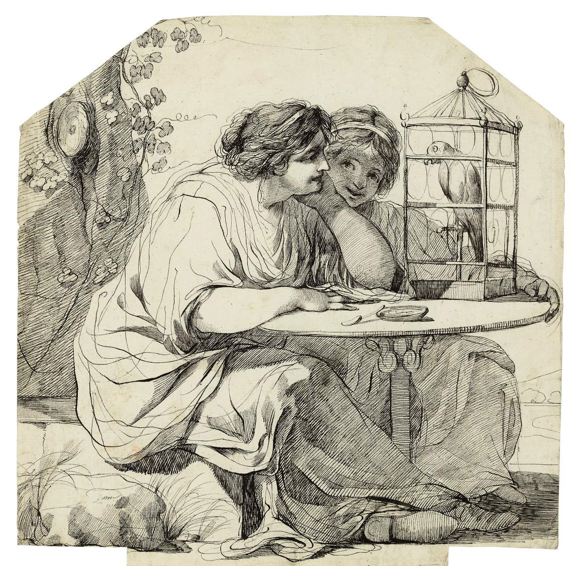 Two women watching a parrot in a cage