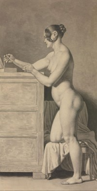 A female nude, kneeling on a chair, admiring a pearl necklace