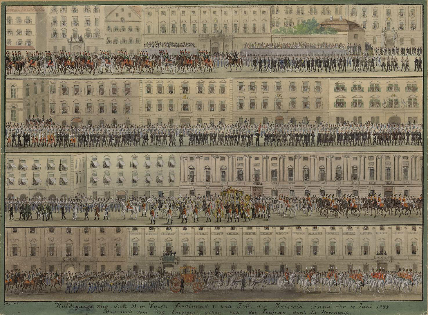A procession in honor of Emperor Ferdinand I and Empress Anna, June 1835
