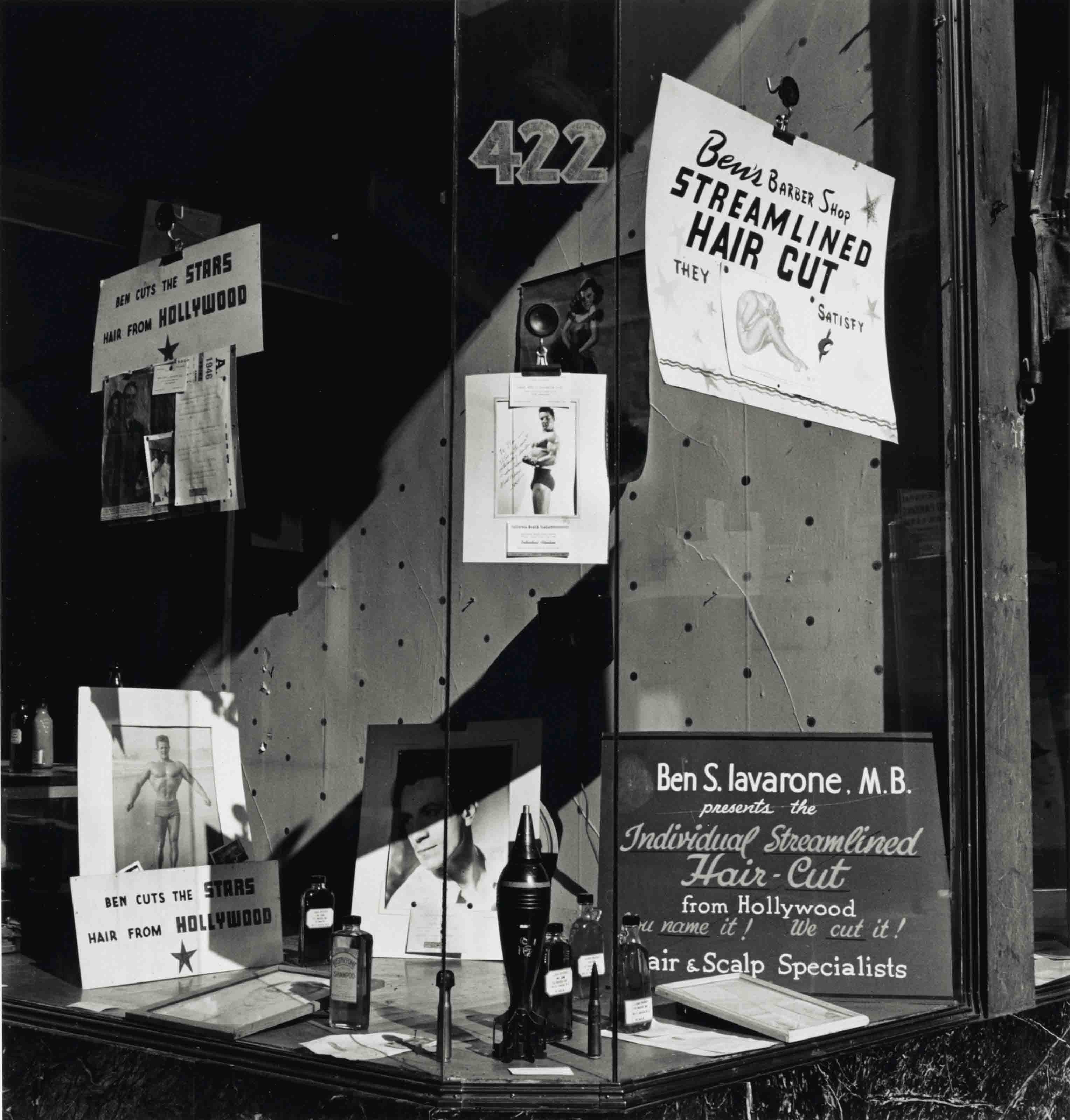 Ben's Barbershop Window, San Francisco, 1946