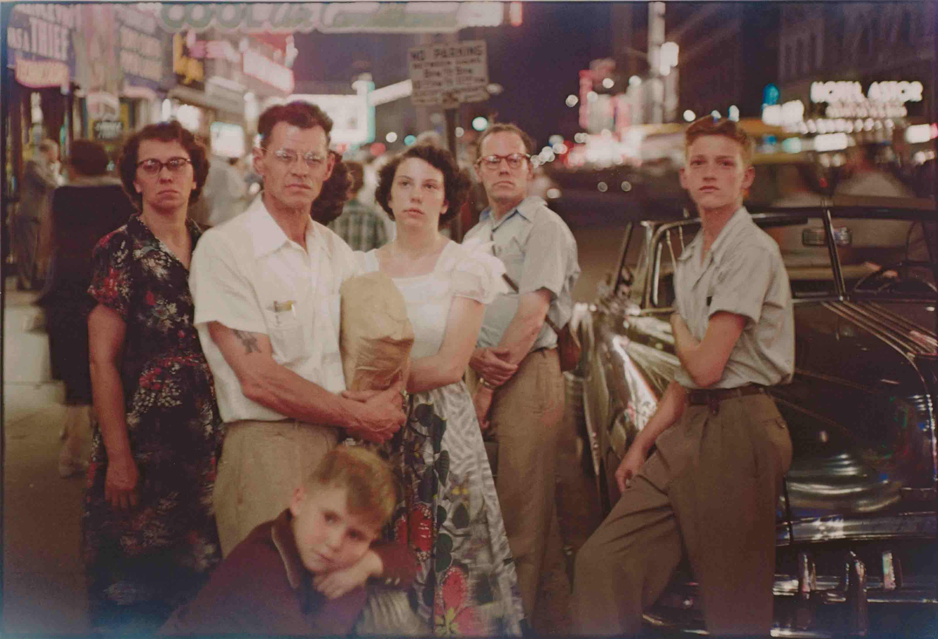 Family, Times Square, 1950