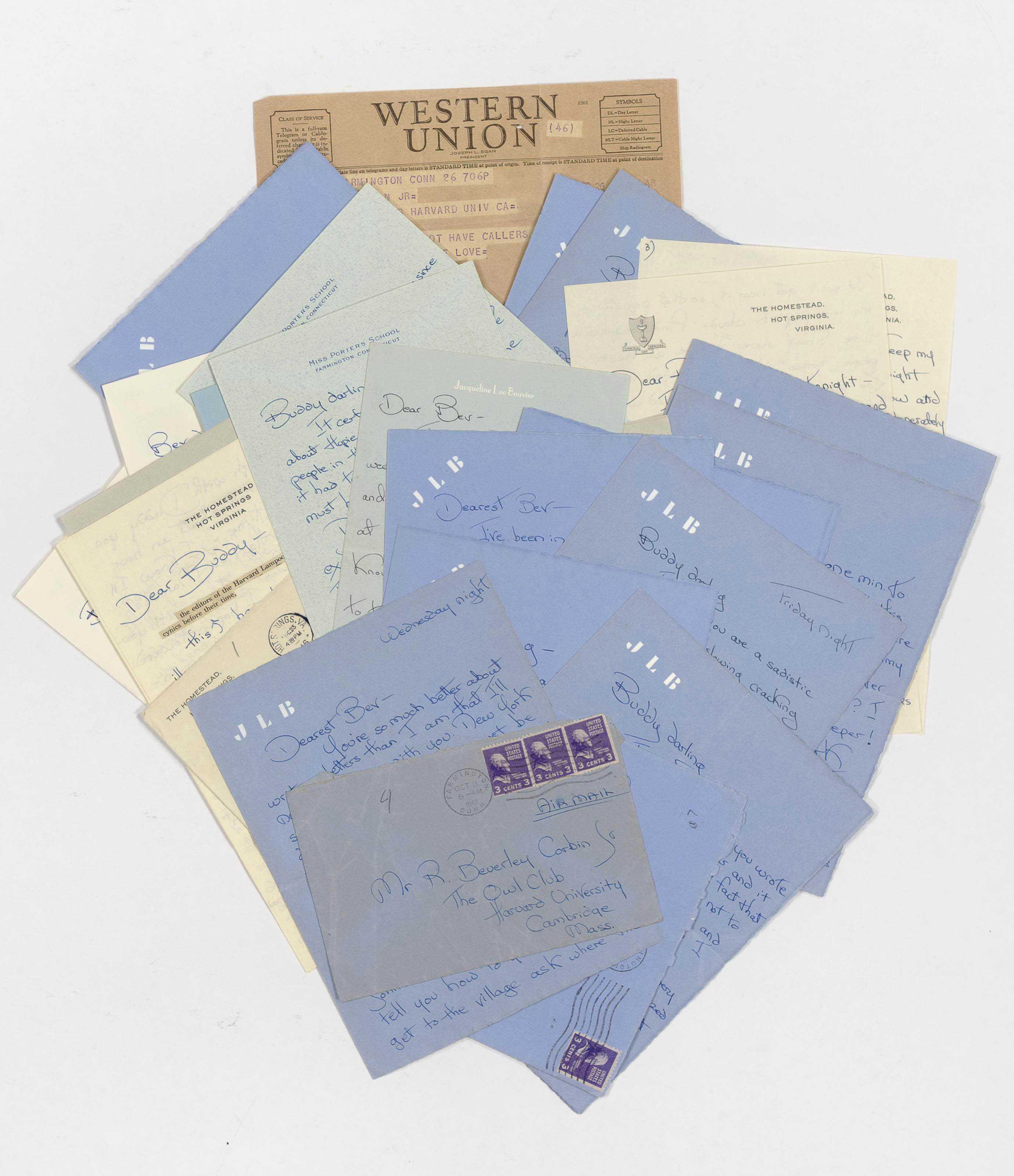 """KENNEDY ONASSIS, Jacqueline Bouvier (1929-1994). Twenty two autograph letters signed (""""Jackie"""") and one printed telegram, to R. Beverley Corbin, Jr., Farmington, Connecticut, 1945-1951. Together 75 pages, 8vos, on personal stationery and stationery of Miss Porter's School, all but one with original envelope. [With:] KENNEDY ONASSIS. Black and white photograph, unsigned, n.d. (6¾ x 4½in.),"""