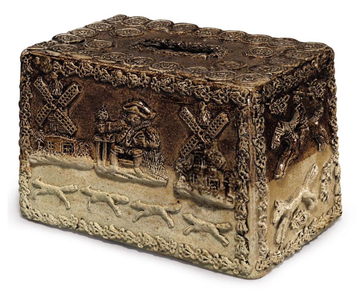 AN ENGLISH SALT-GLAZED STONEWARE RECTANGULAR MONEY-BOX