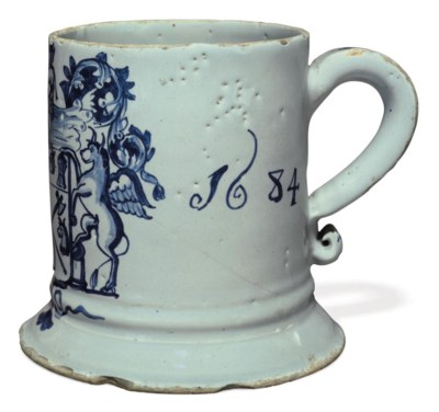AN ENGLISH DELFT DATED BLUE AN