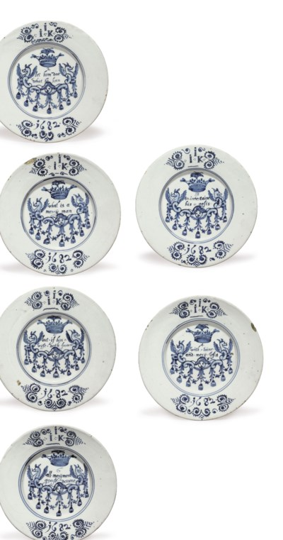 SIX ENGLISH DELFT DATED BLUE A