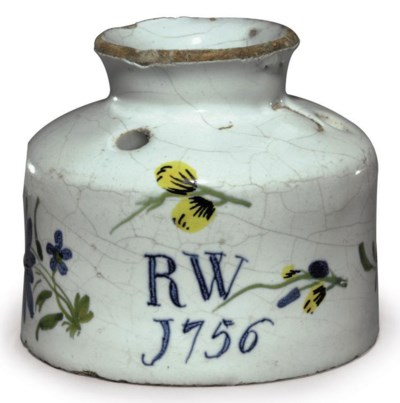 AN ENGLISH DELFT DATED INK-POT