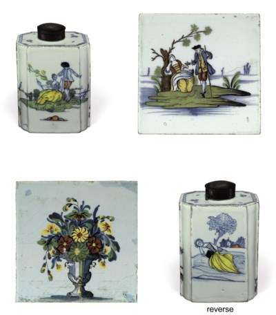 AN ENGLISH DELFT TEA-CANISTER