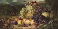Still Life with Fruit in a Landscape, a Hunting Party beyond