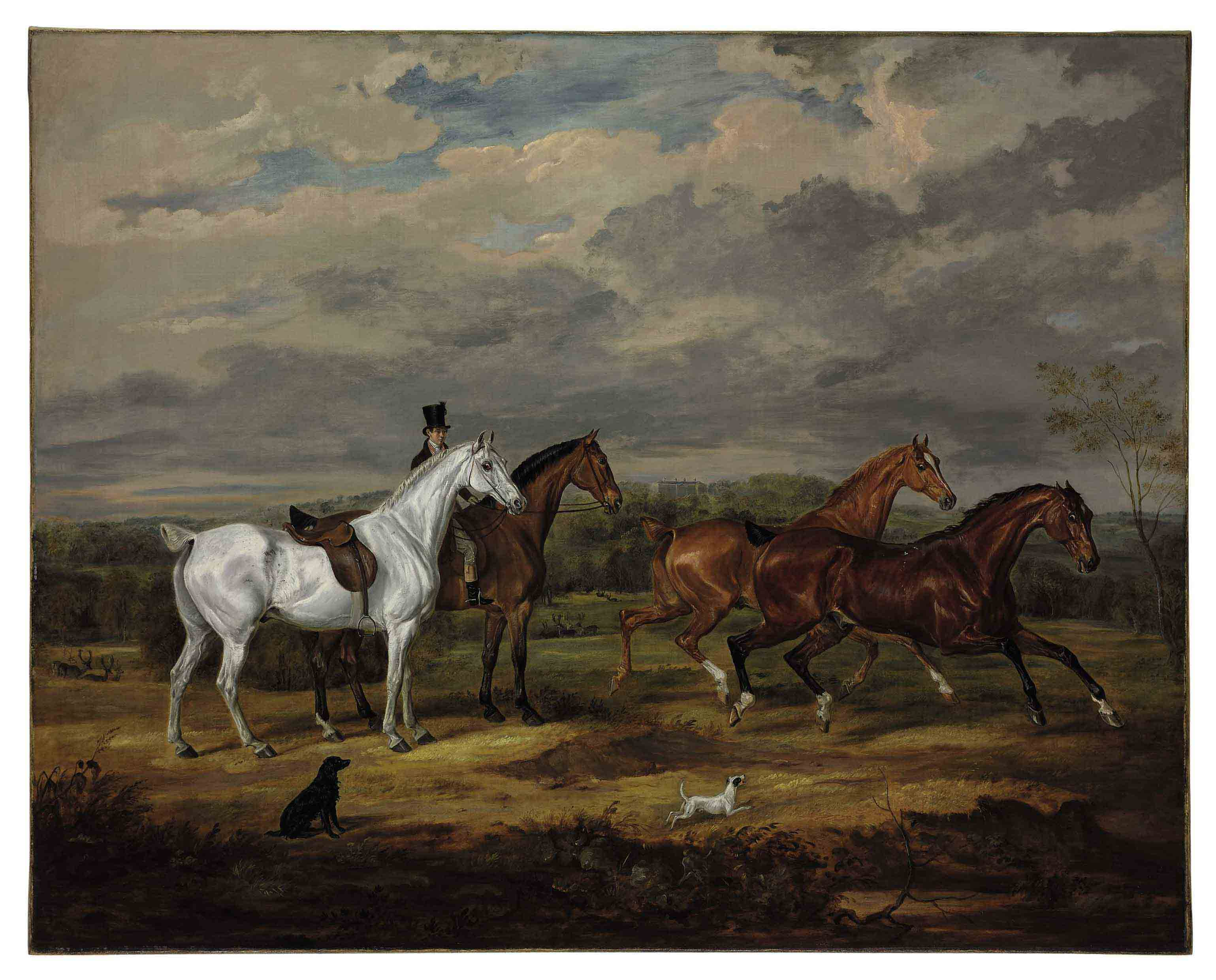 Favorite Hunters of Richard William Penn, 1st Earl Howe (1796-1870), with Gopsall Hall, Leicestershire in the background